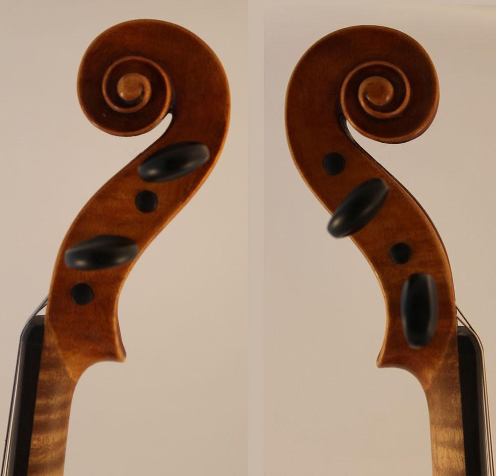 Eugene Langonet violin scroll