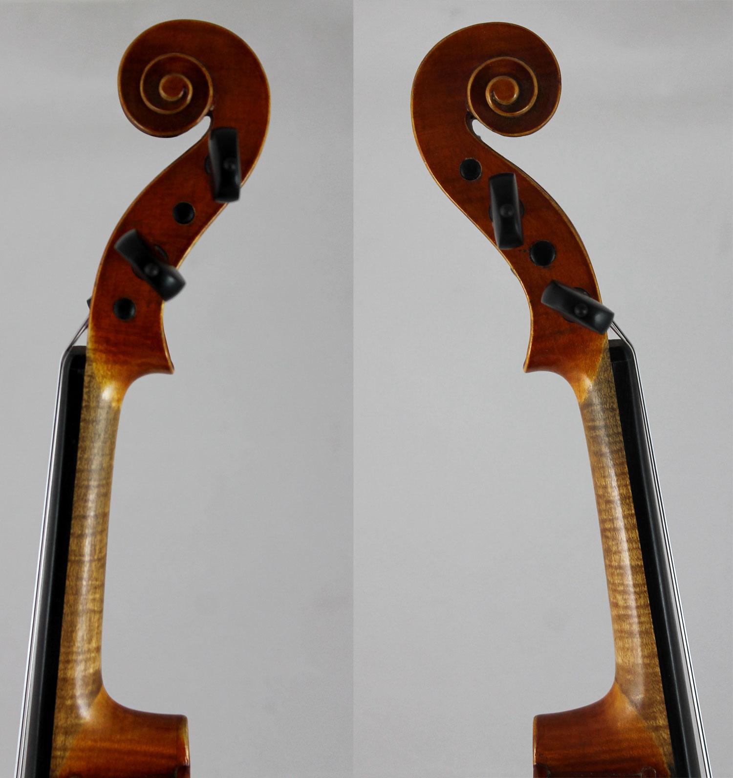 Heinrich Th Heberlein Jr violin - scroll