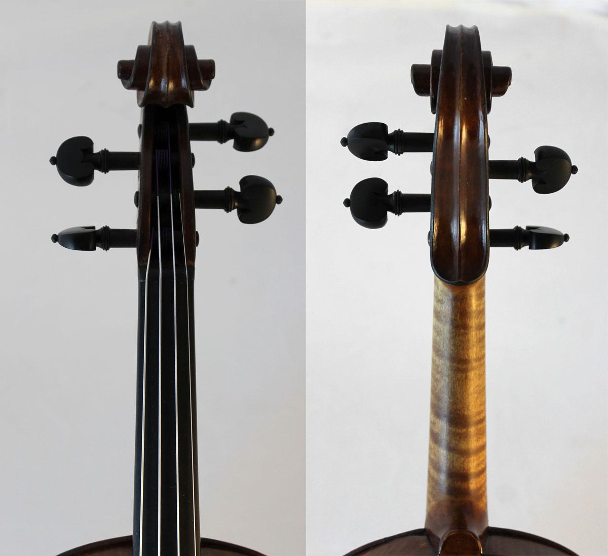 Leon Mougenot violin scroll