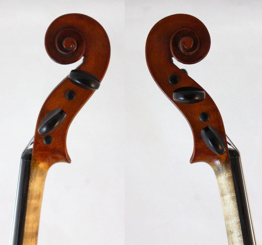 F X Drozen violin scroll sides