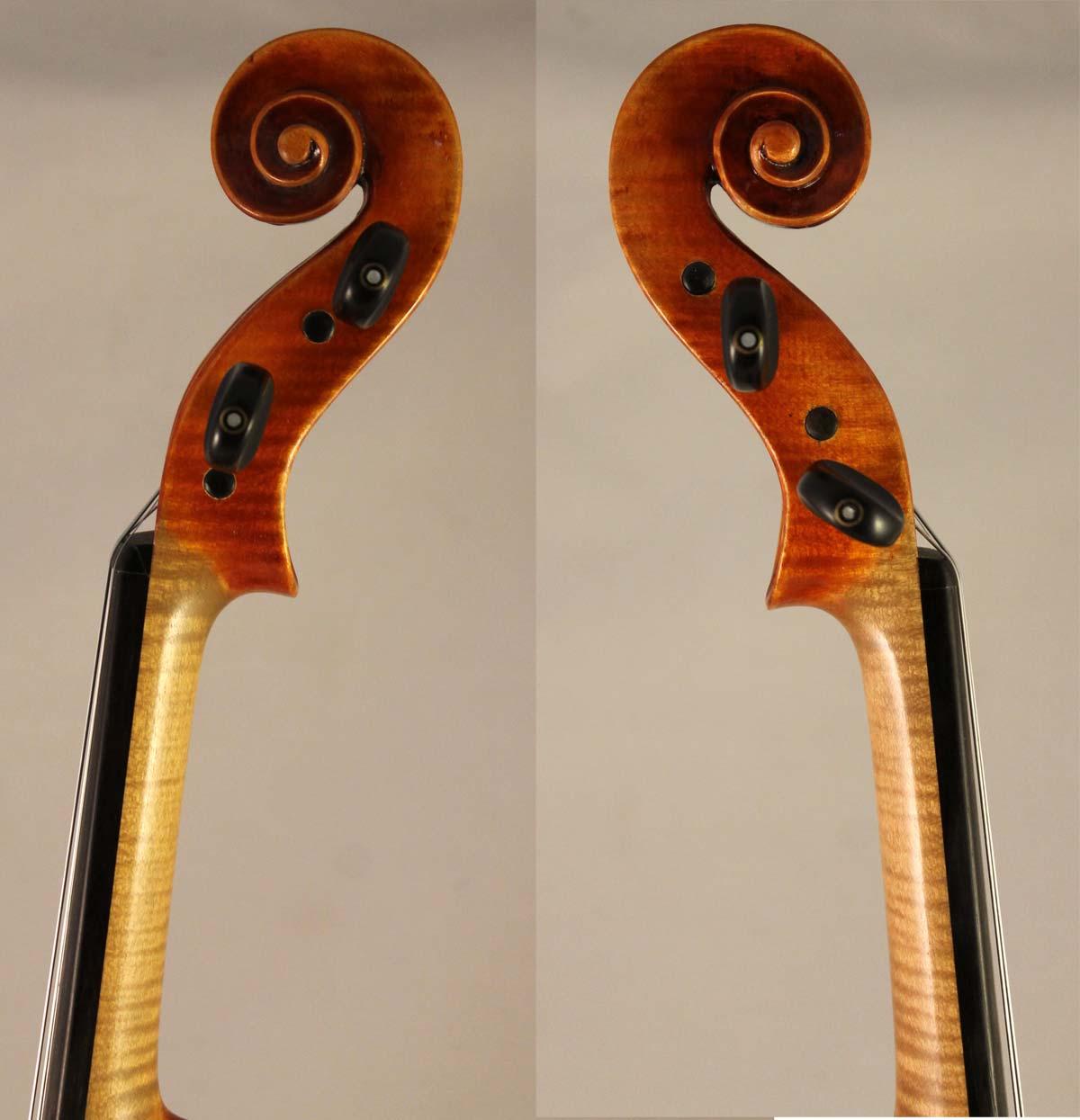 Rudolf Buchner Violin scroll sides