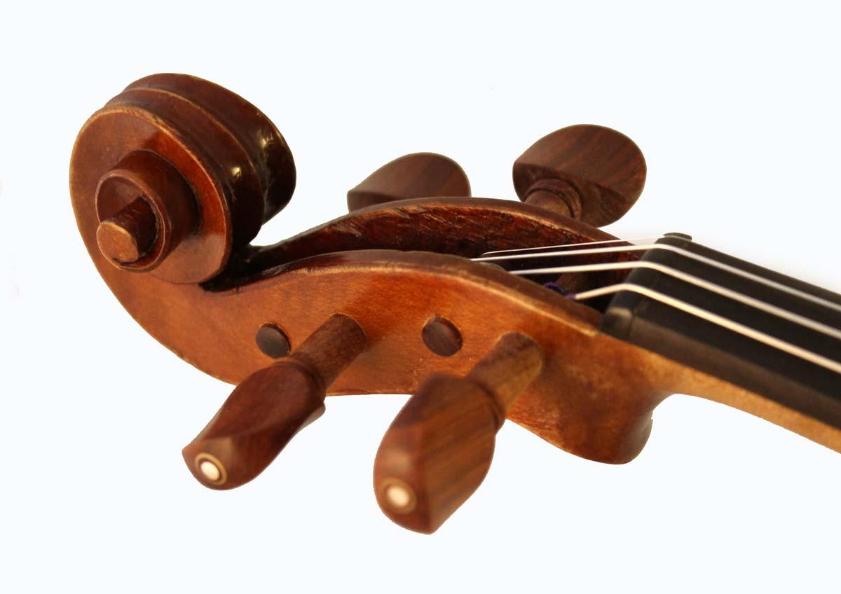 Leon Bernardel violin scroll angle