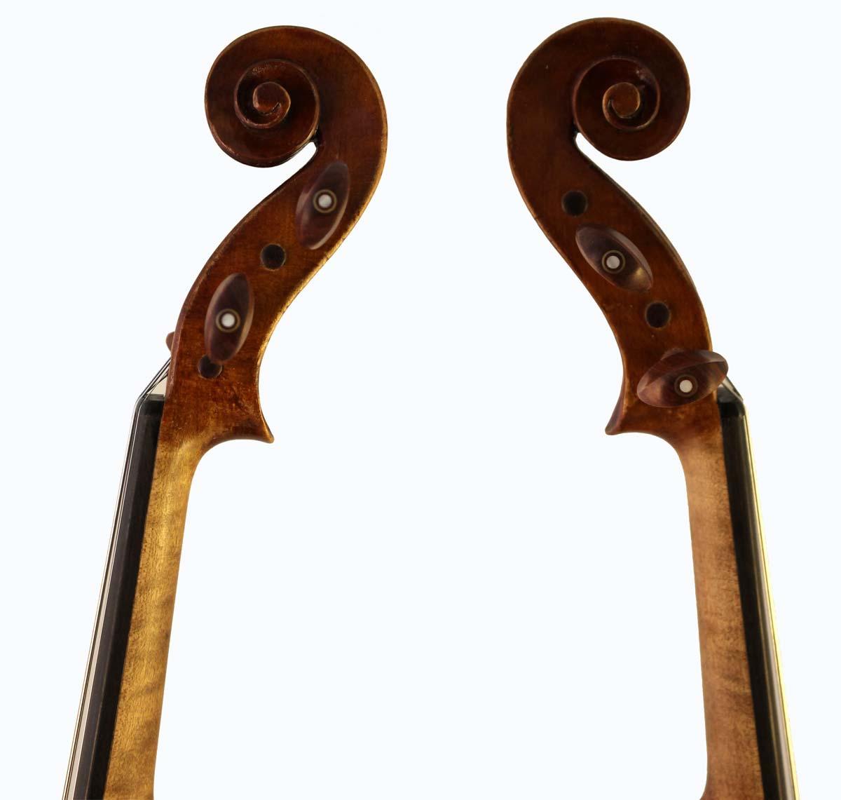 Leon Bernardel violin scroll sides