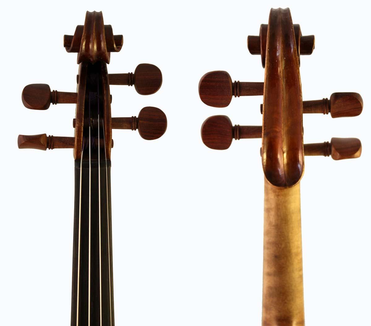 Leon Bernardel violin scroll