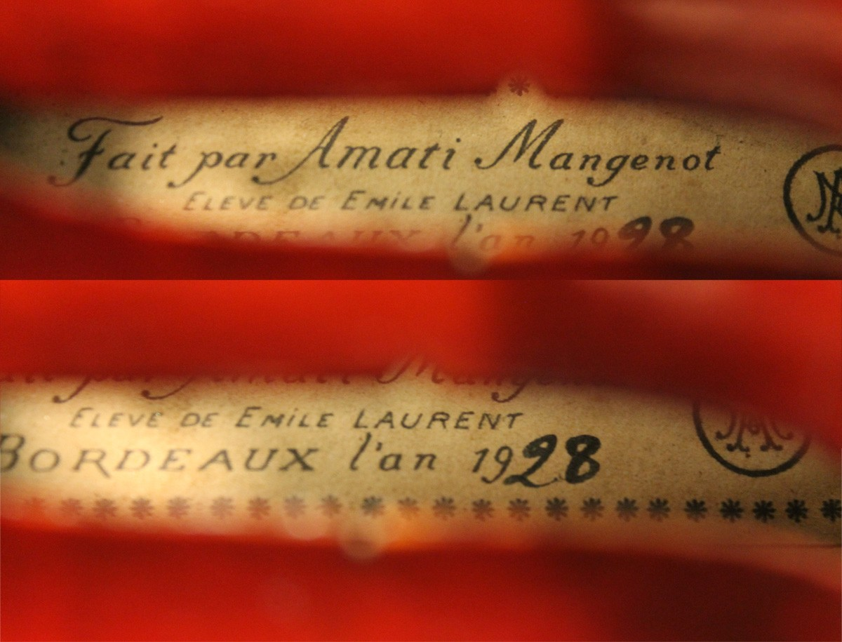 amati mangenot violin label