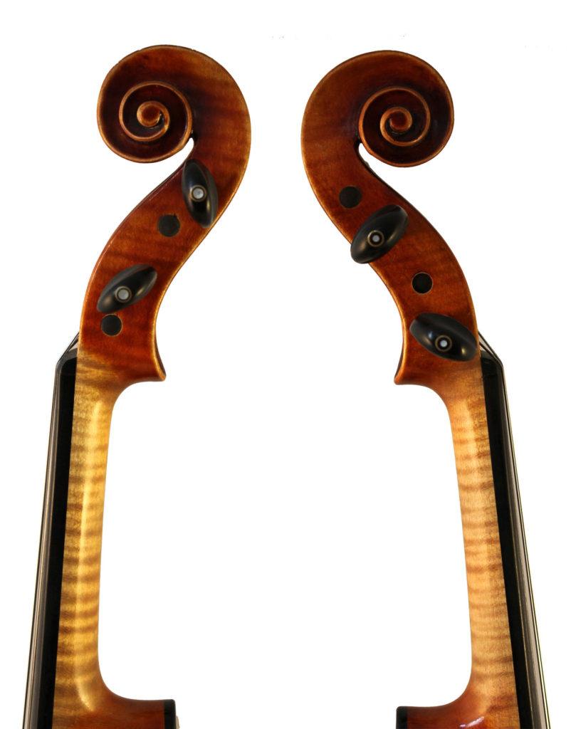 Roman Teller violin scroll - sides